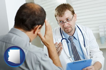 a doctor consulting with a patient about health symptoms - with Arizona icon