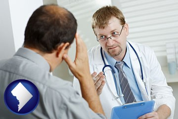 a doctor consulting with a patient about health symptoms - with Washington, DC icon