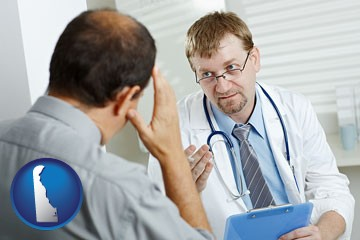 a doctor consulting with a patient about health symptoms - with Delaware icon
