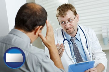 a doctor consulting with a patient about health symptoms - with Kansas icon