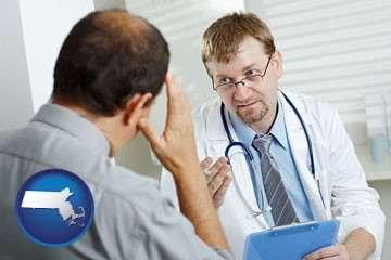 a doctor consulting with a patient about health symptoms - with Massachusetts icon
