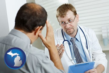 a doctor consulting with a patient about health symptoms - with Michigan icon