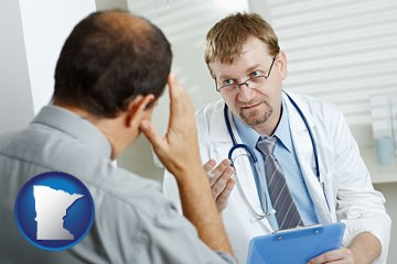 a doctor consulting with a patient about health symptoms - with Minnesota icon