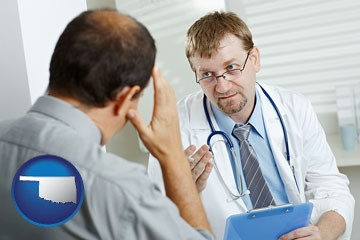 a doctor consulting with a patient about health symptoms - with Oklahoma icon