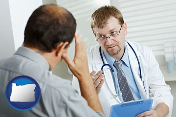 a doctor consulting with a patient about health symptoms - with Oregon icon