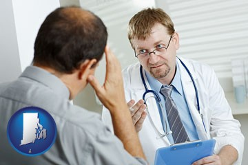 a doctor consulting with a patient about health symptoms - with Rhode Island icon