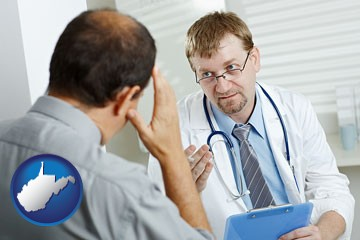 a doctor consulting with a patient about health symptoms - with West Virginia icon